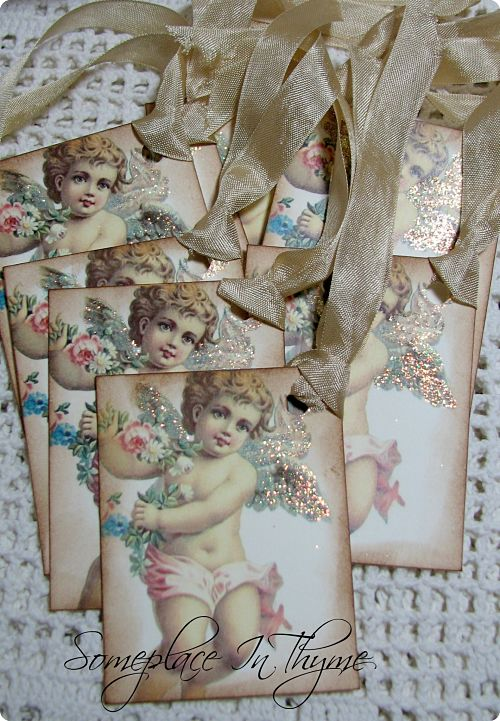 Angel Gift Tags-angels, gift tags, angel tags, glitter, handmade, paper tags, roses, gift