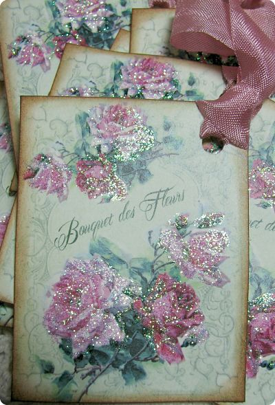 Bouquet Des Fleur Tags-gift tags, roses, cottage, shabby style, handmade, gift, glitter, ribbon, handmade gift tags,