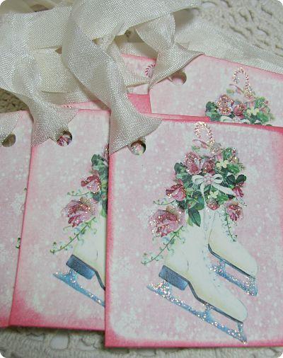 Christmas Skate Gift Tags-gift tags, skate, glitter, holiday, paper, cardstock, Christmas tags, Christmas gift tags, roses