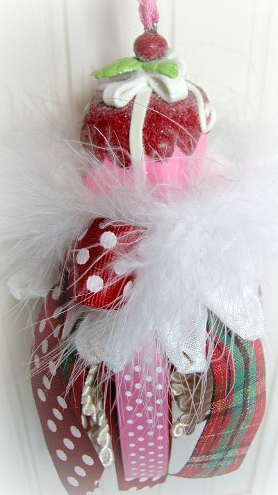 Plum Cake Christmas Tassel-tassel,cake,cottage,plum,handmade,gift,pink,shabby,holiday,homedecor,decorating,ribbons,tart,ornament