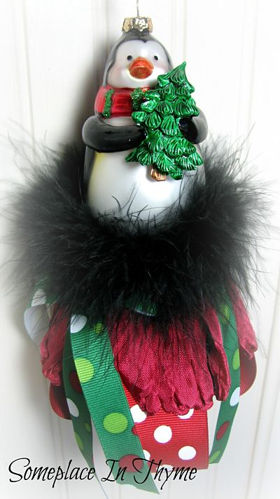 Glass Penguin Christmas Tassel-glass,ornament,penguin,boa,feathers,ribbons,holiday,Christmas,homedecor,decoration,ornament,cottage,gift,handmade