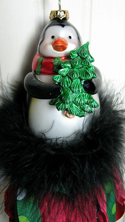 Glass Penguin Christmas Tassel-glass,ornament,penguin,boa,feathers,ribbons,holiday,Christmas,homedecor,decoration,ornament,cottage,gift,handmade