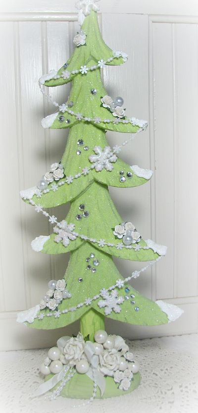 Gorgeous Green Christmas Tree With Trimmings-Christmas,tree,green,glitter,cottage,shabby,roses,handmade,gift,paper,gems,rhinestones,pearls,holidays,painted,chic,decor,decoration