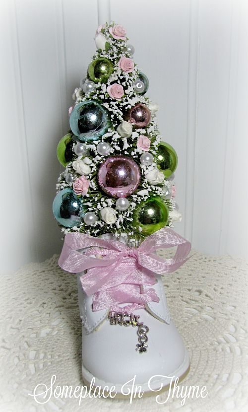 Christmas Tree In Baby Shoe Roses-Christmas tree, Christmas decor, baby shoe, Christmas decoration, pink roses, handmade Christmas decoration, Cottage decor, Shabby decor, pearls, white roses
