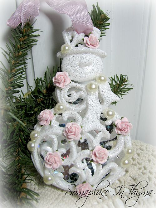 Snowman Ornament With Roses-Christmas, ornament, snowman ornament, glitter, roses, pink roses, white snowman, ribbon, cottage, pearls, shabby decor