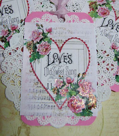 Valentine Tags-valentine tags, valentine paper, valentine hearts, ribbon, gift, handmade