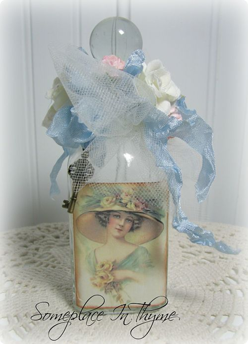 Petite Altered Bottle With Hat Lady-glass bottle, blue ribbon, netting, silks, handmade, home decor, decoration, key, roses, cottage, shabby decor