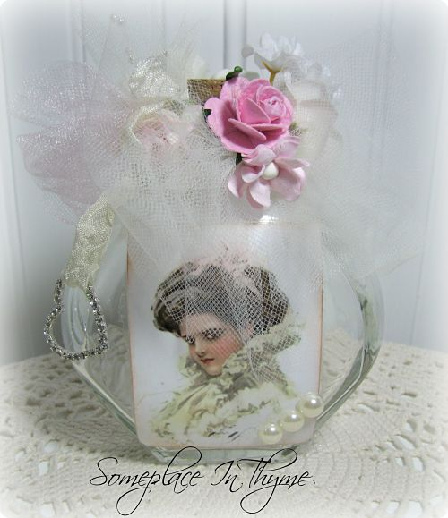 Romantic Lady Altered Bottle-home decor, vanity bottle, gift, handmade, roses, cottage, decoration, pink, heart, rhinestone,
