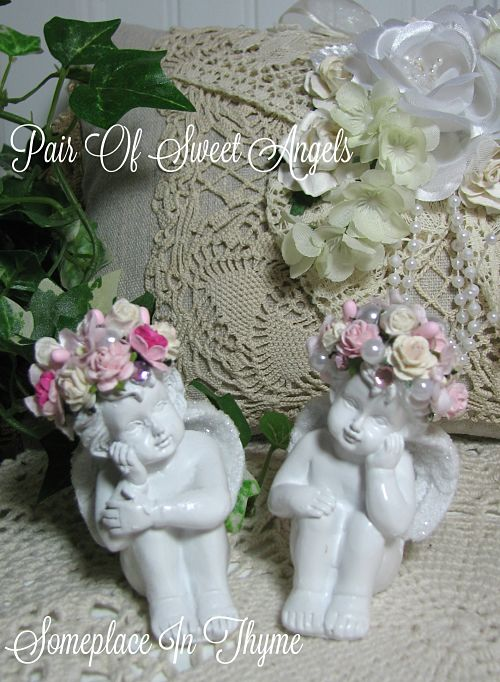 Pair Of Sweet Petite Angels-Angels, resin Angels, home decor, home decoration, pink roses, cottage white, shabby decor, handmade, gift, handmade gift,