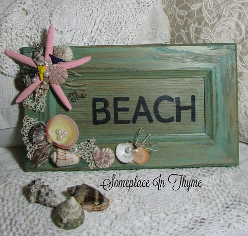 Beach Themed Wooden Sign-wooden sign, beach sign, sea shells, handmade gift, pearls, vintage crochet, shabby sign, cottage sign, wooden beach sign, gift, vintage buttons,