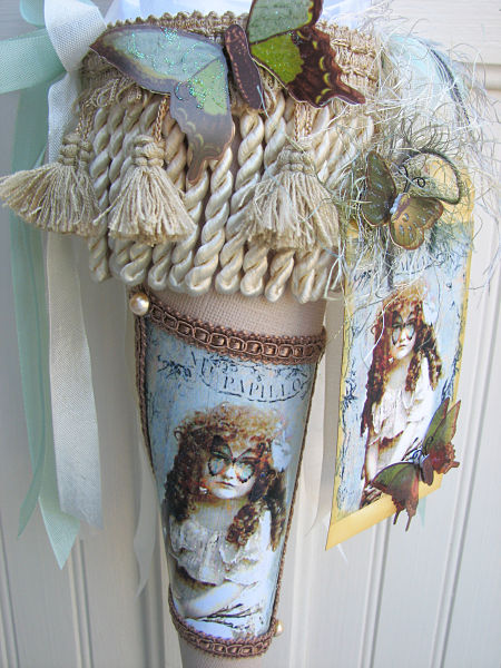 Butterfly Tussie Mussie-tussiemussie,shabby,homedecor,decoration,paper,cottage,image,glitter,tag,butterfly,ribbons,trim,fringe,tassels
