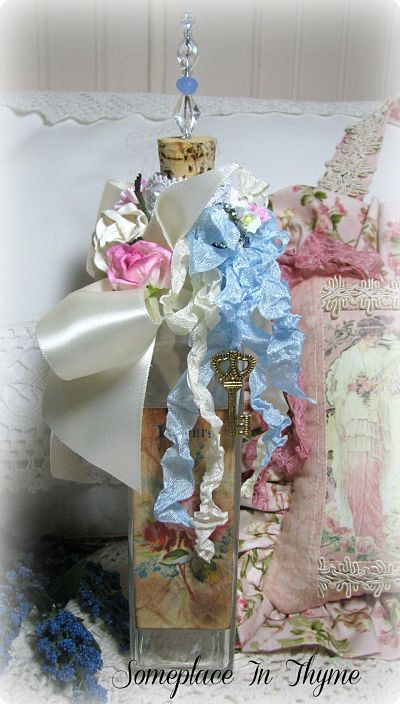 Romantic Tattered Bottle-vanity bottle, roses, vintage, image, tattered bottle, cottage, decoration, bottle decoration, bath, guest room,