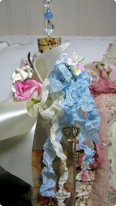 Romantic Tattered Bottle-vanity bottle, roses, vintage, image, tattered bottle, cottage, decoration, bottle decoration, bath, guest room,