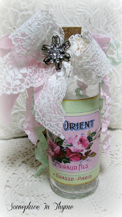 Rose De Orient Altered Bottle-vanity bottle, roses, handmade, glass, gift, vintage lace, ribbon, french image, altered bottle, pink, cork,