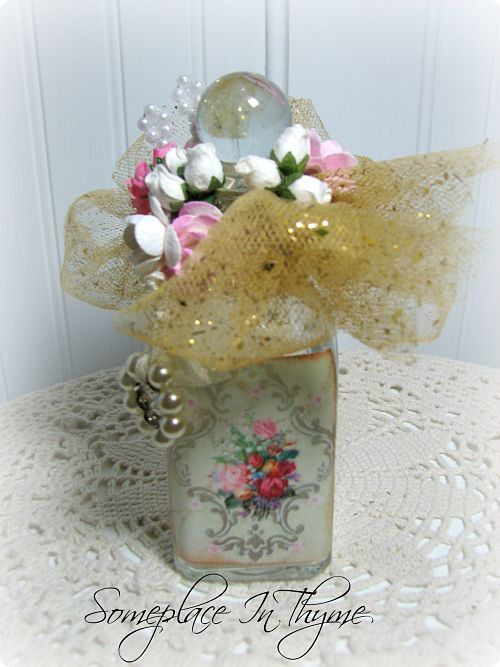 Altered Bottle With Gold Netting-vanity bottle, glass bottle, gift, roses, handmade, gold netting, shabby decor, cottage decor, bath decor, decoration, pearls, sparkle
