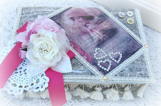 Shabby Box With Music and Vintage Buttons-box,keepsake,handmade,image,shabby,cottage,gift,pearls,silk,roses,fringe,trim,paper,cardboard,music,decoupage,ribbon,cording,buttons,vintage,doily
