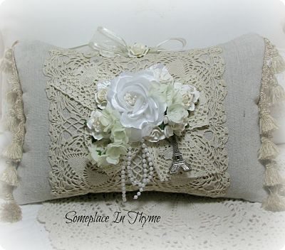 Natural Canvas Pillow With Paris Theme-pillow,chic,paris,shabby,natural,canvas,roses,lace,vintage,cottage,handmade,paper,charm,stuffed,lace,pearls,silks,gift,doily,crochet,fringe,tassels,