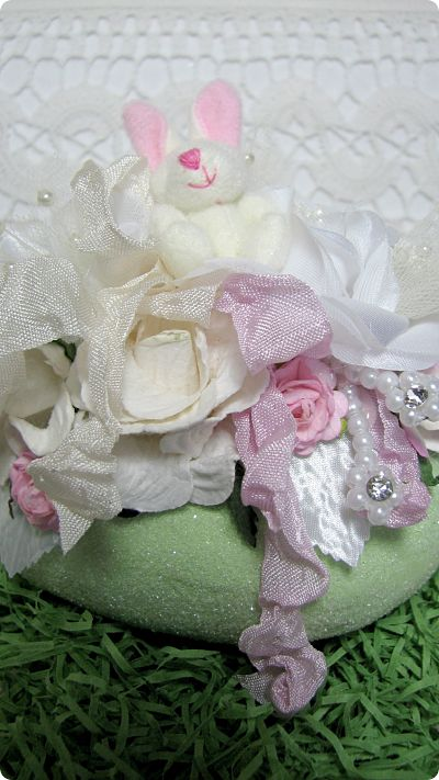 Green Bunny Easter Egg-bunny,Easter,roses,paper,handmade,ribbon,pearls,cottage,gift,silks,netting