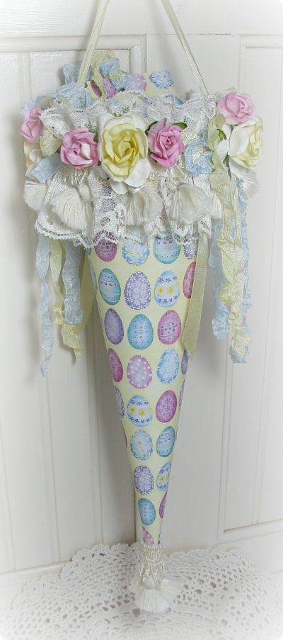 Easter Egg Tussie Mussie-tussiemussie,egg,holiday,roses,lace,cottage,easter,paper,ribbons,fringe,handmade,shabby,gift,tassels,chic,cardstock,