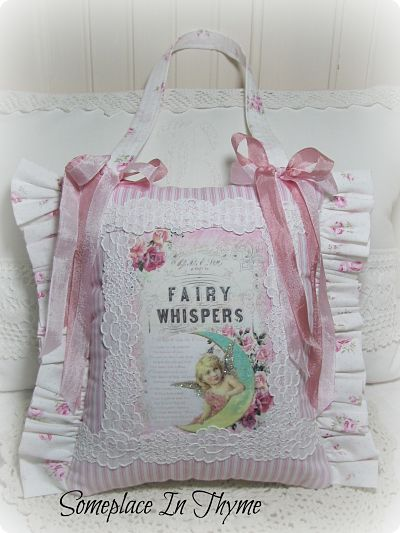 Sweet Tooth Fairy Pillow Hanging-pillow,tooth,fairy,lace,pink,fabric,roses,ribbon,handmade,gift,child,glitter,cottage,shabby,chic,cotton,ruffle