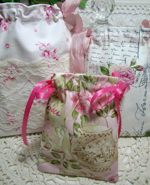 Gift/Jewelry Bags Pink Roses-jewelry bag, gift bag, pink roses, cotton bags, handmade bag, cottage decor, shabby decor, ribbons, lace, gift,