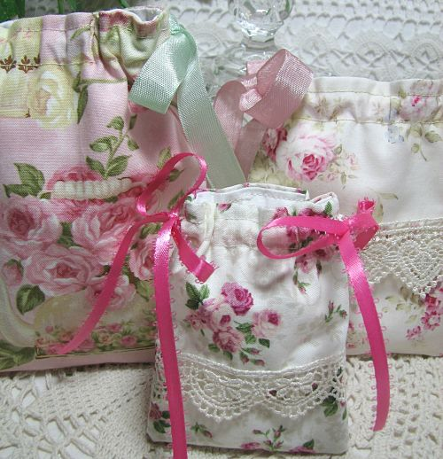 Gift/Jewelry Bags Teacups-handmade gift, roses, cottage, shabby, bags, handmade bags, pink roses, ribbons, lace