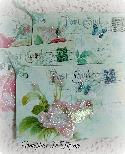 Rose Post Card Tags-tags,paper,glitter,roses,cottage,shabby,gift,handmade