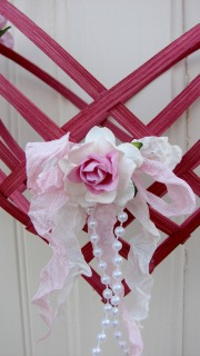 Hand Woven Valentine Heart With Roses-heart,handmade,valentines,holiday,ribbon,roses,paper,reed,weave,basket,gift,shabby,cottage