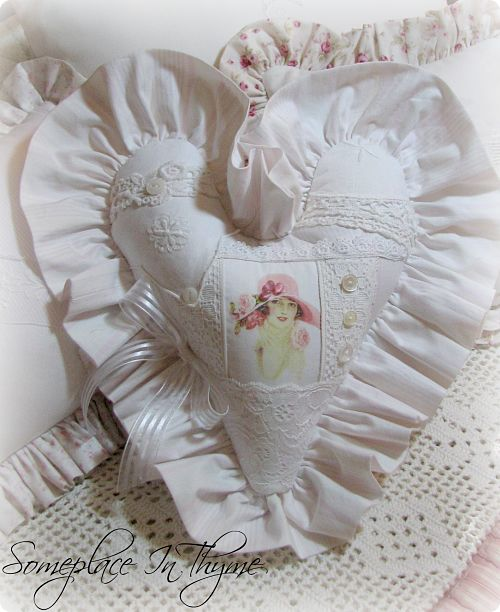 Heart Pillow With Lady In Hat-heart pillow, Valentine pillow, vintage buttons, gift, handmade, image, cottage, shabby, bed, cotton, buttons, pink, white, stripes, heart, lace
