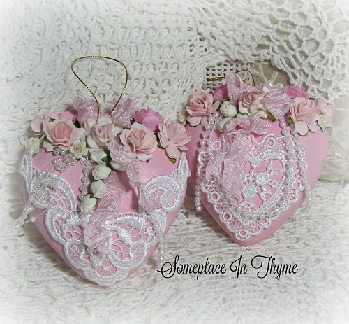 Set Of Pink Hearts-valentine hearts, hearts, pink hearts, pearls, handmade roses, valentine decor, decoration, heart decor, roses, lace, ribbons