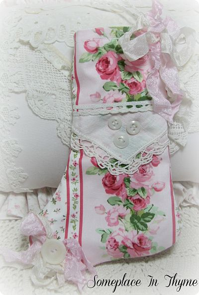 Ornament Stocking-stocking, roses, vintage, buttons, linen, crochet, ribbon, pink, cottage, shabby, Christmas, holiday, ornament, tree