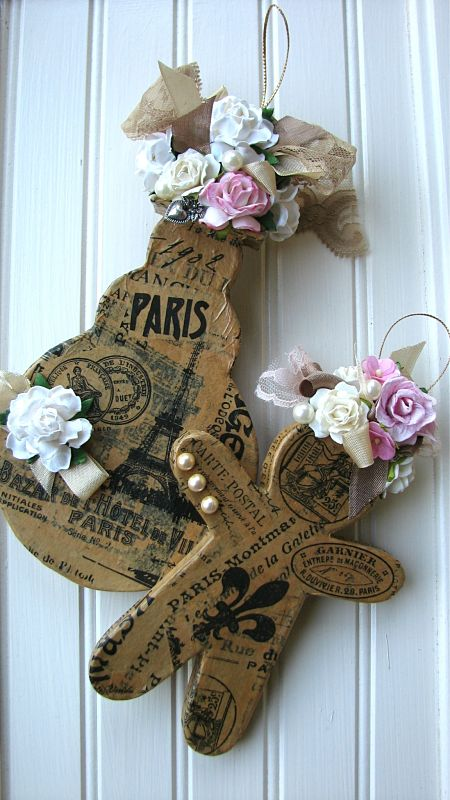 Cute Pair Of Ornaments With Paris Theme And Roses-ornaments,gift,handmade,Christmas,paper,gingerbread,snowman,holiday,roses,pink,paris,tissue,ribbon,charm,pearls,two,cardboard,cottage,shabby,chic