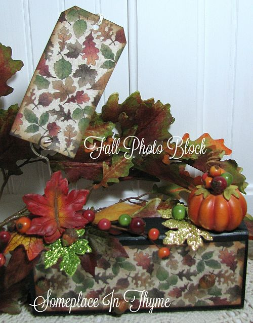 Fall Photo Block-shabby sign, home decor, fall decor, cottage decor, handmade sign, wooden sign, pumpkin decor, table decor, tags, berries, leaves
