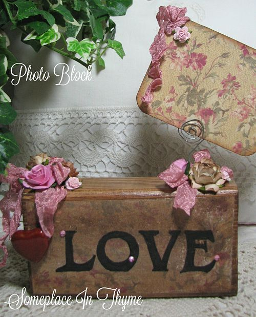 Love Photo Block-photo stand, wood, love sign, wood sign, cottage decor, shabby decor, pink roses, roses, ribbons, pottery, pottery heart, handmade gift, handmade,