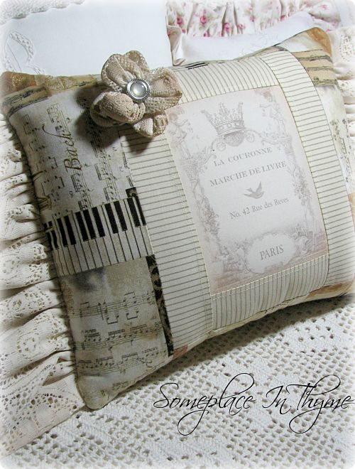 Paris Music Pillow-pillow,gift,paris,french,cotton,lace,vintage,rose,pearl,home,decor,decoration,handmade,fabric,image