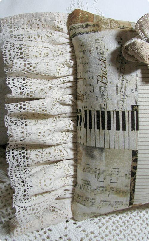 Paris Music Pillow-pillow,gift,paris,french,cotton,lace,vintage,rose,pearl,home,decor,decoration,handmade,fabric,image
