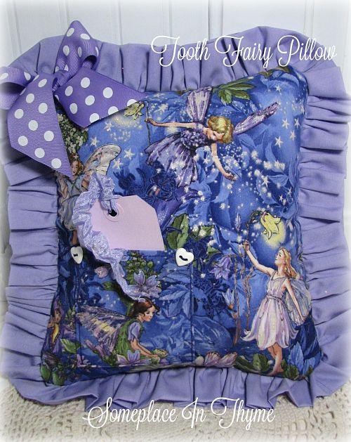 Fairies And Ruffles Glitter Tooth Pillow-pillow, children's decor, child's room, shabby decor, decoration, tooth pillow, handmade gift, nursery decor