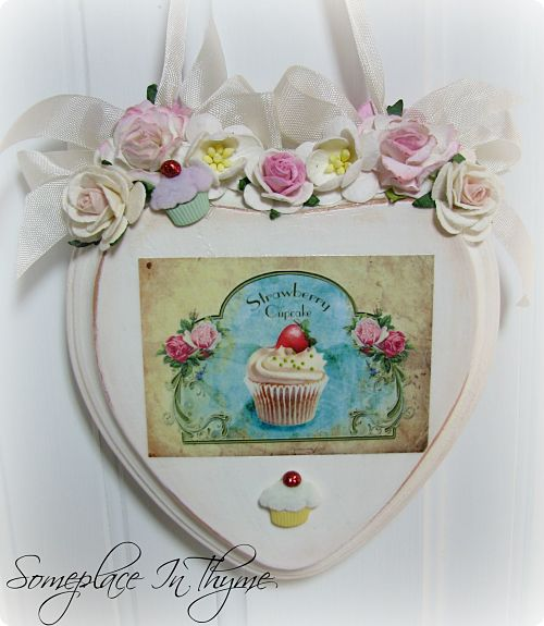 Cupcake Plaque-roses, cottage decor, shabby decoration, pink roses, sign, plaque, cupcakes, white, pink, shabby, cottage, ribbon, handmade gift,