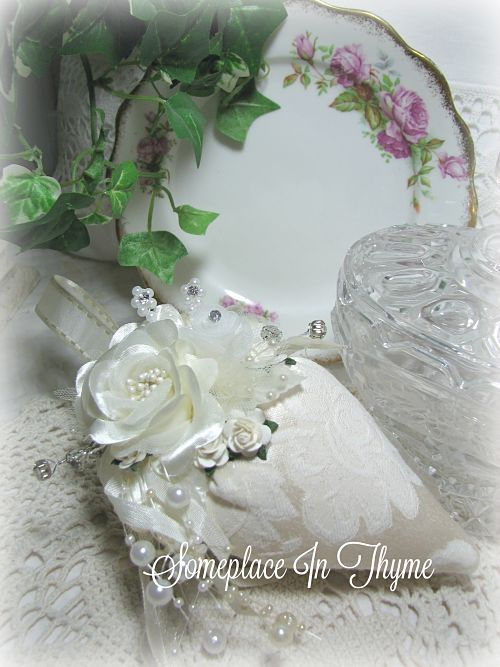 Bridal Strawberry Sachet With Pearls-sachet,bride,wedding,gift,handmade,pearls,rhinestone,cotton,ribbon,cottage,shabby,chic,lavender,