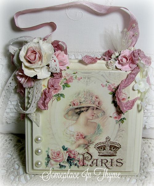 Beautiful Lady In Pink Sign/Plaque-sign, wood sign, plaque, wood plaque, home decor, home decoration, pink roses, roses, cottage decor, handmade gift, ribbons, pearls, flowers,