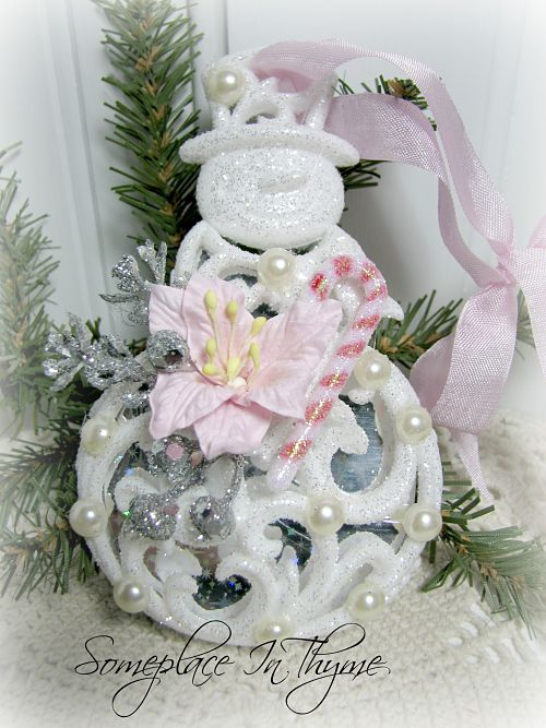 Glittered Snowman With Candy Cane-snowman ornament, glitter, pearls, decoration, Christmas decoration, cottage decor, shabby decor, pink, snow, holiday decor