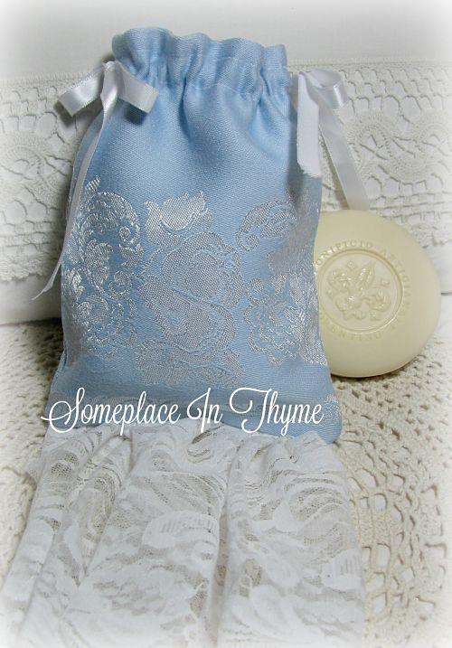 Blue Sachet Soap Bag-handmade soap, sachet bag, handmade bag, cottage decor, bath decor, blue fabric, vintage lace, ribbon