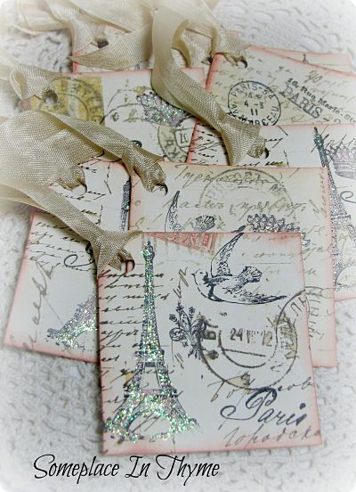 Eight Shabby French Style Tags-paper,tags,paris,french,glitter,ribbon