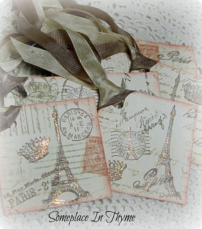 Set Of Eight Tags With Paris Theme-tag,paper,cardstock,paris,ribbon,glitter