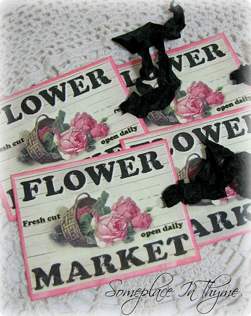 Set Of Four Flower Market Gift Tags-gift tags, card stock, paper, pink roses, black ribbon, cottage gift, roses