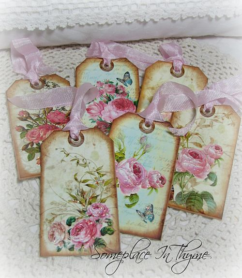 Six Gift Tags With Roses-tags, roses, paper