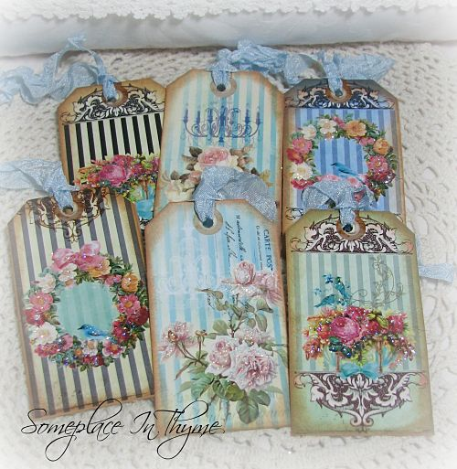 Set Of Six Stripped Tags-gift tags, roses, stripped, paper, glitter, ribbon