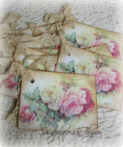 Gift Tags Yellow And Pink Roses-yellow roses, pink roses, gift tags, ribbons, glitter, free shipping, cottage decor, handmade, shabby