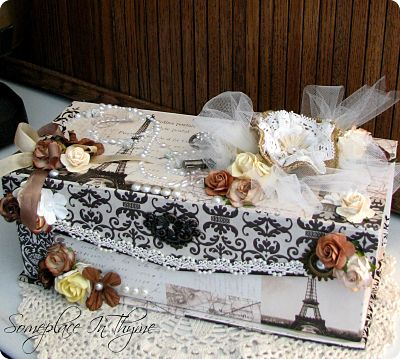 Large Re-Purposed Paris Themed Shabby Box-box, shabby box, Paris box, roses, cottage, charms, pearls, flowers, gift, handmade, gift, netting, keys, metal work