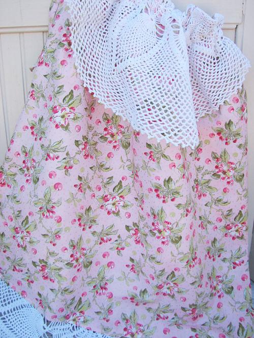 Lingerie Duffle Laundry Bag-laundry,bag,lingerie,duffle,pink,vintage,doily,handmade,gift,flowers,cottage,shabby,chic,